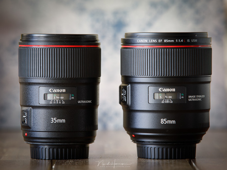 My personal favorite set of lenses: a 35mm and 85mm lens. I find these perfect for weddings, studio and model shoots. These lenses allow a very shallow depth of field, something that is more difficult or even impossible to achieve with a zoom lens.