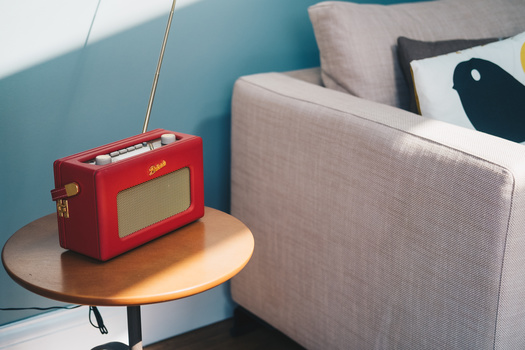 Red radio on a side table