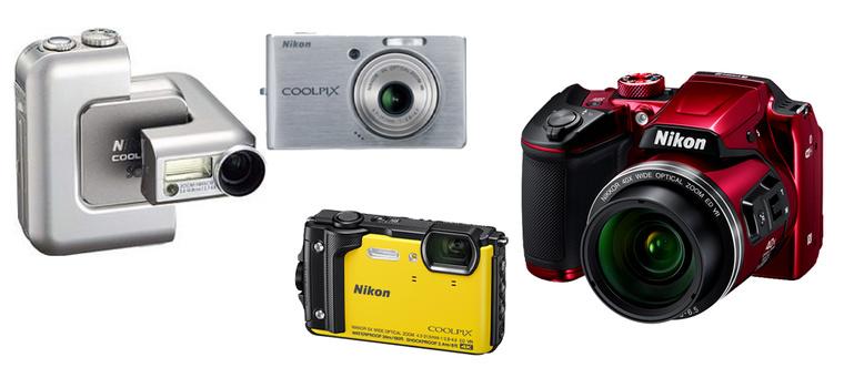 Various COOLPIX cameras.