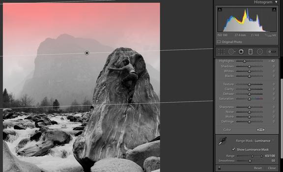 Lightroom gradient filter with range mask