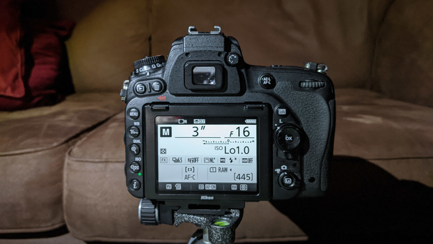 Camera settings for the product shot
