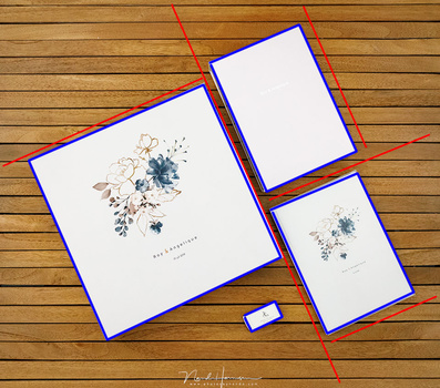 A geometrical compostion has emerged by arranging these wedding albums for promotional use.