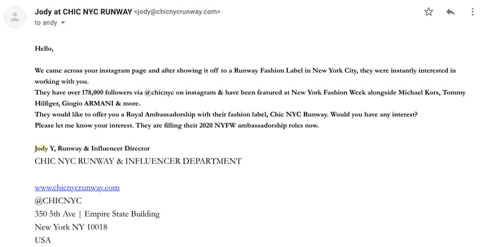 Email from Jody at Chic NYC Runway