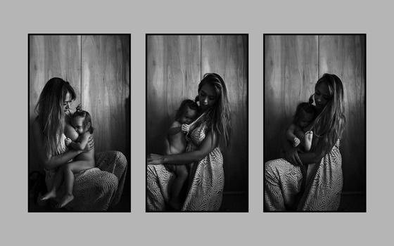 A triptych of a mother breastfeeding