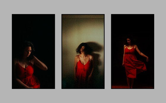 A triptych of a girl in a red dress.