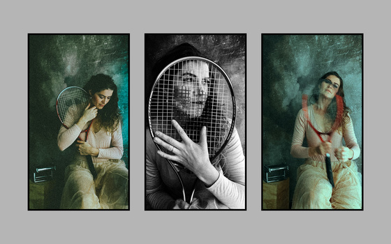A triptych of a woman holding a tennis racket.