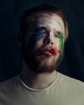 Man, paint, closeup, portrait