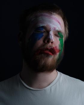 Portrait, male, closeup, paint