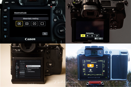 Different brands use different names. There are also small differences in the metering modes on these cameras. We see a Canon, Nikon, Fujifilm, and a Hasselblad