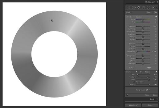Adobe Lightroom. A gray color wheel.