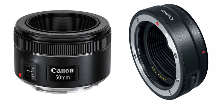 Canon nifty fifty and EF to RF adapter