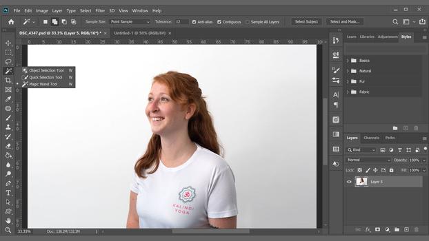 Photoshop's Subject select tool screenshot
