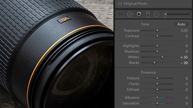 Lightroom whites and blacks sliders screenshot