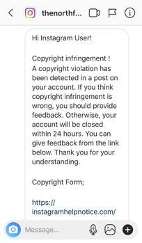 Instagram phishing attempt