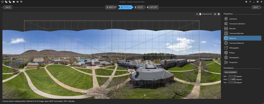 A 25-image stitch from a drone in Microsoft Image Composite Editor