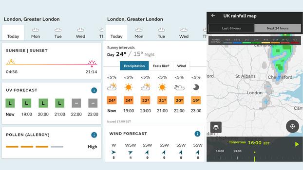 MetOffice weather app screenshot