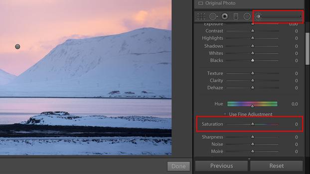 Vibrance slider on adustment brush screenshot
