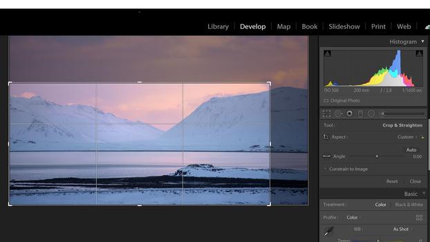 Crop tool Lightroom screenshot