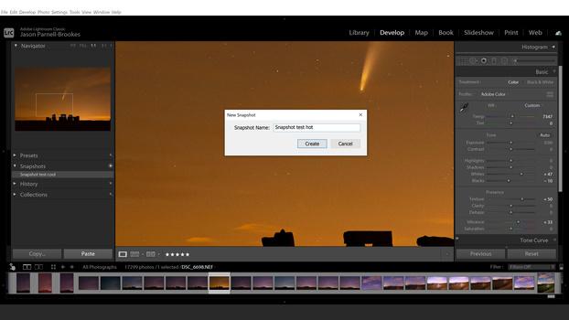 Snapshots in Lightroom screenshot