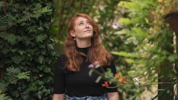 Portrait of woman in flowers