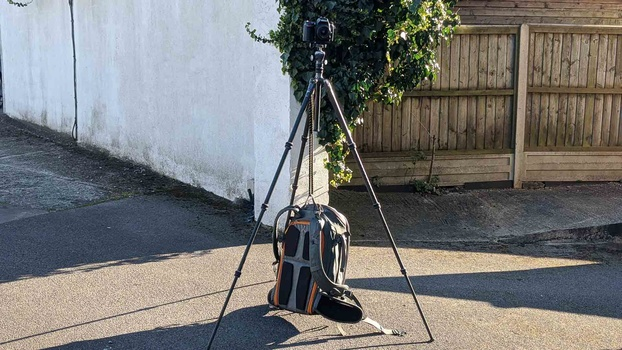 Bungee cord the tripod and camera bag