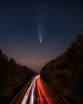 One of my best photos of comet NEOWISE. I used 2 seconds of exposure for the comet itself, to avoid any trails. I combined this with a longer exposure for the road.