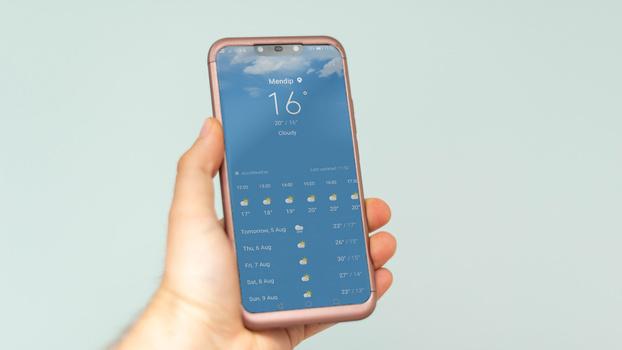 Weather app on smartphone