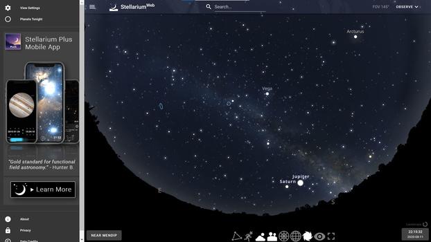 Stellarium web browser screenshot