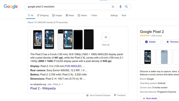 Google search for smartphone screen resolution