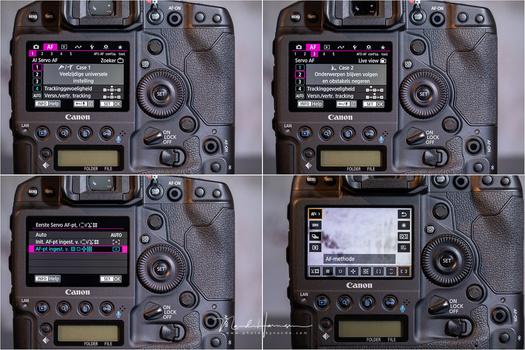 Customizing the Canon EOS 1Dx mark III auto focus menu.