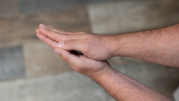 Hands together in a prayer position