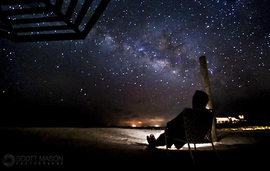 stargazing on a beach