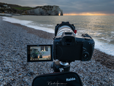 Shooting with the Canon EOS R and the RF 70-200mm f/2.8L IS lens at Étretat, France.