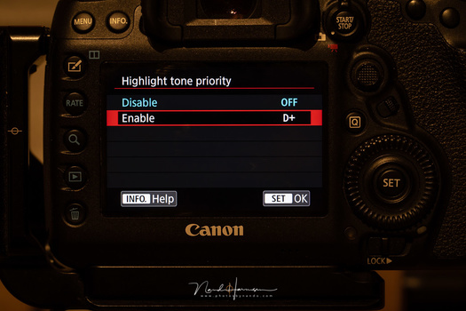 The D+ highlight tone priority on the Canon EOS 5D mark IV