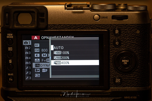 The dynamic range menu settings on the Fujifilm X100t