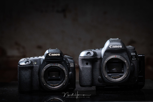 Two completely different cameras. One with a cropsensor, the other with a full frame sensor. And many generations apart.
