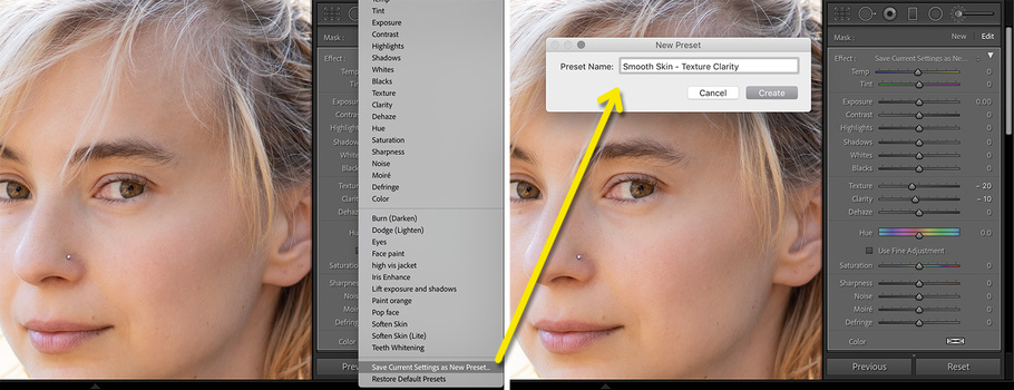 Lightroom save adjustment brush settings.