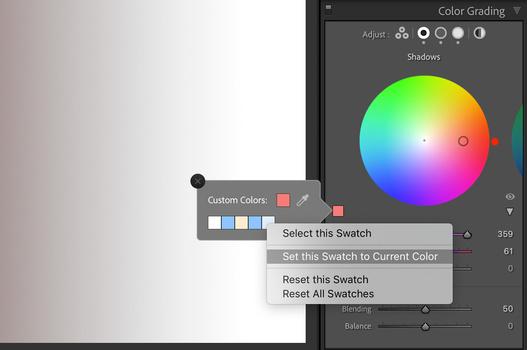 Lightroom Color Grading color swatch