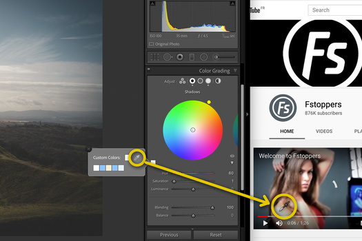 Lightroom Color Grading color swatch grab from elsewhere