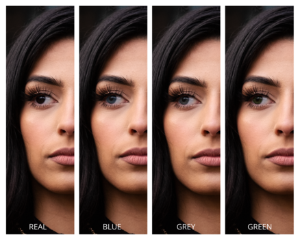 Examples of model's eye color change in post processing