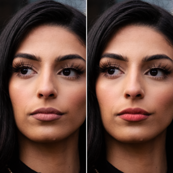 A side by side of a model before darkened lips and after.