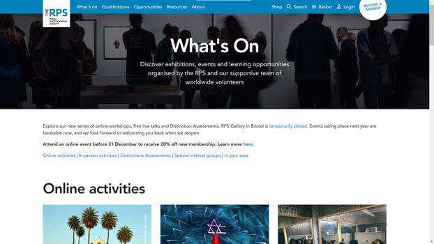 Online membership screenshot
