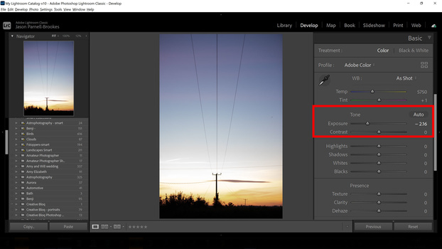 Exposure slider in lightroom classic