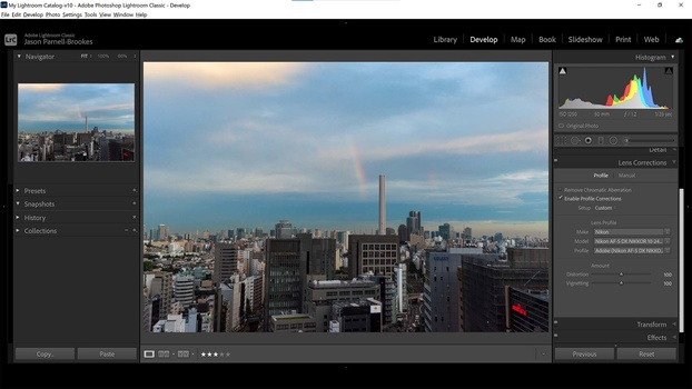 Enable lens corrections in lightroom