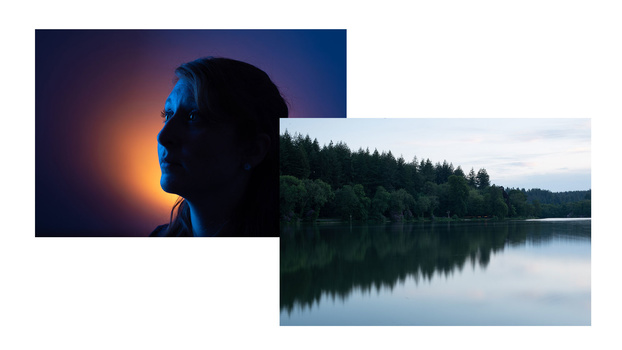 Two starting images of female portrait and lake landscape scene
