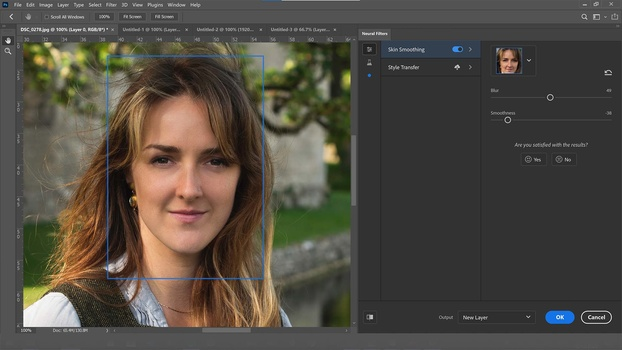 Skin softening filter in photoshop