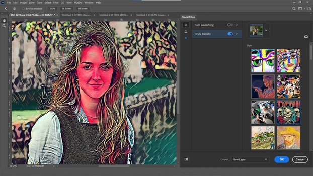 Style transfer in photoshop