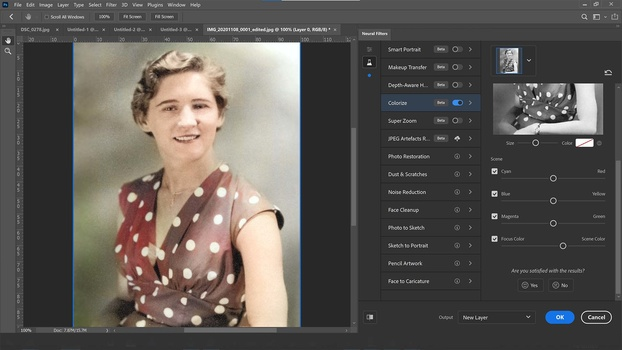 Colorizing neural filter in photoshop