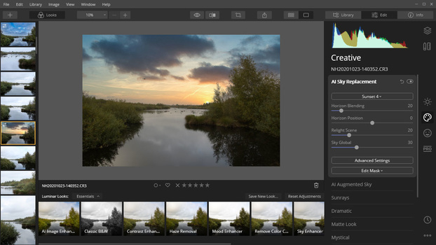Luminar 4 in use with sky replacement
