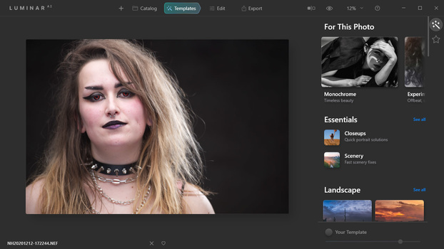 With Luminar AI the Templates is the most important way of post-processing.